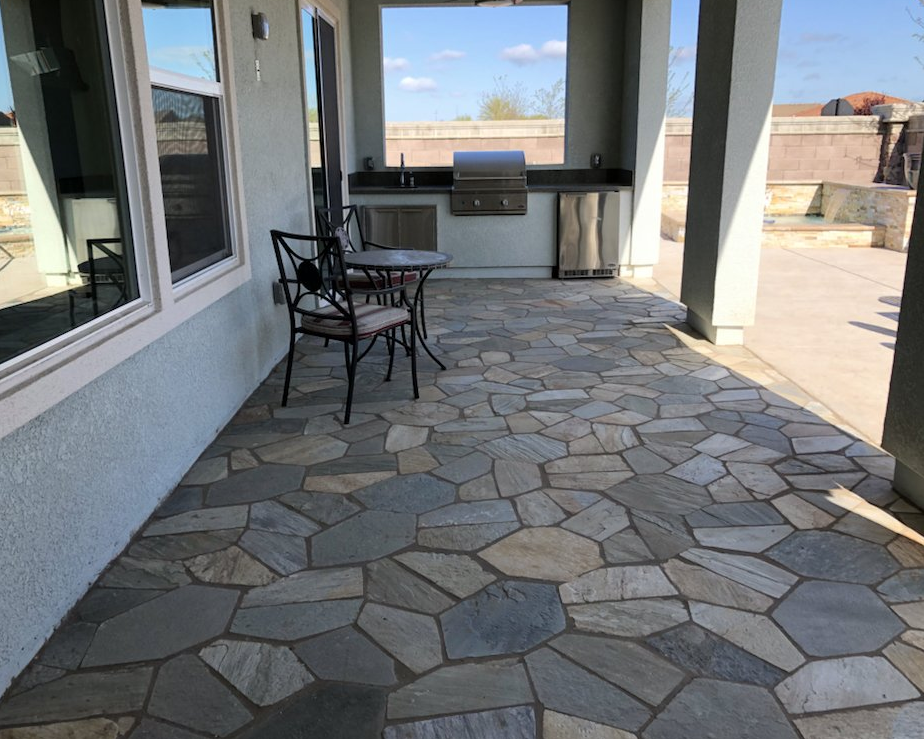 this image shows stone masonry patio